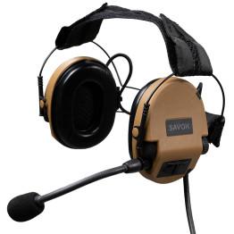 SAVOX NOISE-COM 200 Electret boom mic, Head band, ODU 14 PIN, Binaural