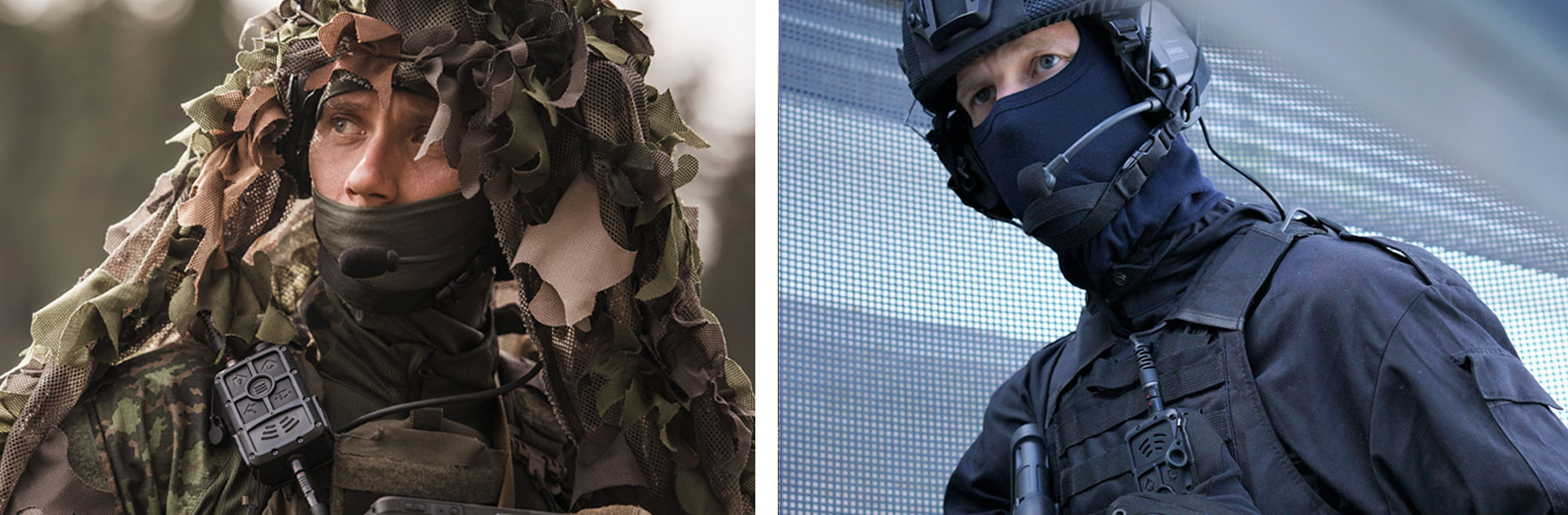 Soldier and police dressed in their gear and utilizing SAVOX TRICS